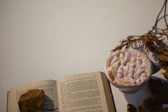 杯与开放书的热奶咖啡 图库摄影
