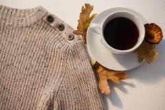 杯与秋叶的红茶和在白色背景的羊毛布料 免版税库存图片