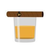 杯与雪茄的威士忌酒 优质酒精,烟草 平的styl 图库摄影