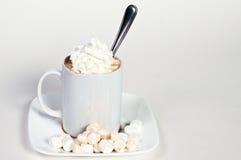 杯与鞭子奶油和蛋白软糖的热巧克力 免版税图库摄影