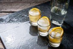 杯伏特加酒用柠檬和冰 免版税库存图片