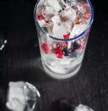 杯冰用莓果鹅莓红色黑醋栗和水 刷新的鸡尾酒 玻璃水瓶柑橘饮料冰橙色夏天水 库存照片