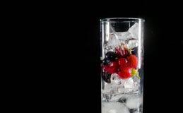 杯冰用莓果鹅莓红色黑醋栗和水 刷新的鸡尾酒 玻璃水瓶柑橘饮料冰橙色夏天水 免版税库存图片