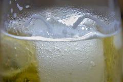 杯冰镇啤酒用浓缩的水 库存图片