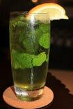 杯冷水,与薄荷的新叶子和切片桔子 免版税库存照片