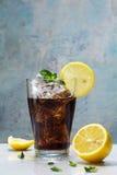 杯可乐或焦炭与冰块、柠檬切片和peppermin 免版税图库摄影