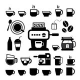 杯和咖啡象集合 免版税库存图片