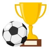 杯和橄榄球或足球平的象 皇族释放例证