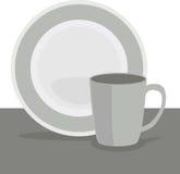 杯和牌照 免版税库存图片