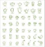 杯和茶壶乱画 库存例证