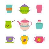 杯和茶壶在白色 库存例证