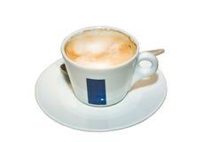 杯在一个大理石工作台面的热奶咖啡咖啡 查出 图库摄影