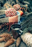 杯在一张土气木桌上的热的茶 圣诞节 锥体静物画,麻线,冷杉分支 被定调子的葡萄酒 免版税库存照片