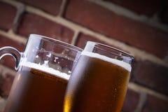 杯在一间黑暗的客栈的低度黄啤酒。 免版税库存图片