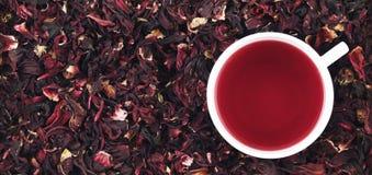 杯在叶子的木槿茶,全景 库存照片