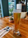 杯在木桌上的啤酒在餐馆 免版税库存图片