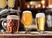 杯在木桌上的啤酒 在背景的被弄脏的客栈内部 免版税库存照片