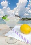 杯在木头的柠檬水 免版税库存图片