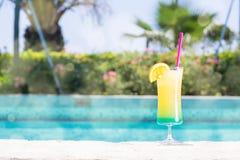 杯在水池附近的愉快的几天鸡尾酒 免版税库存图片