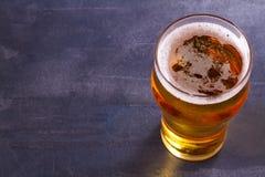 杯在灰色背景的啤酒 侥幸 免版税图库摄影