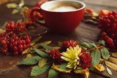 杯在秋天背景的热的lattee 库存照片