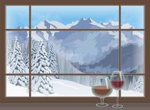 杯在窗台冬天山风景的红葡萄酒白兰地酒 向量 免版税库存图片
