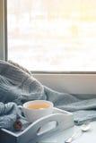杯在窗台的热的茶 免版税库存照片