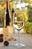 杯在表的白葡萄酒 免版税图库摄影