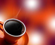 杯在bokeh背景的无奶咖啡 库存图片