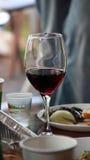 杯墨尔乐红葡萄酒 库存照片