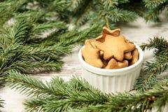 杯姜饼干 圣诞节我的投资组合结构树向量版本 Newyear 免版税库存照片