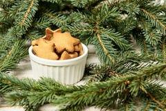 杯姜饼干 星形 Newyear 圣诞节我的投资组合结构树向量版本 库存图片