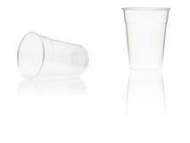 杯子倒空塑料 库存照片