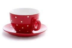 杯子加点短上衣红色白色 库存照片