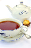 杯子匙子茶茶壶 免版税库存照片