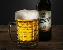 杯子啤酒和一个瓶Staropramen 库存图片