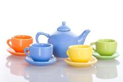 杯子四集合茶壶 免版税库存照片