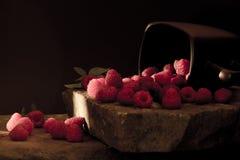 杯子在黑背景的成熟莓 图库摄影