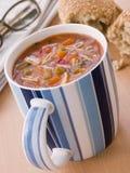 杯子意大利面食汤蔬菜 库存图片