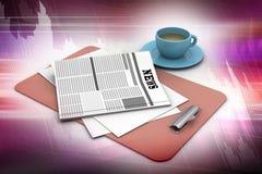 杯子新鲜的报纸茶 免版税图库摄影