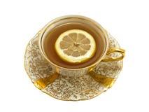 杯子柠檬瓷茶 免版税图库摄影