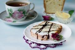 杯子水果蛋糕茶 库存图片