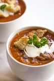 杯子汤用油煎方型小面包片 免版税图库摄影