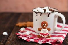 杯子热巧克力或可可粉用圣诞节曲奇饼和marsmal 免版税库存照片