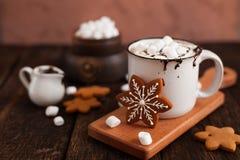 杯子热巧克力或可可粉用圣诞节曲奇饼和marsmal 库存图片