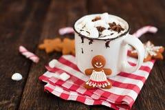 杯子热巧克力或可可粉用圣诞节曲奇饼和marsmal 图库摄影