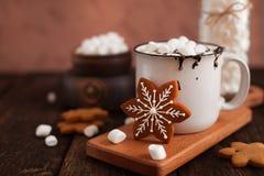 杯子热巧克力或可可粉用圣诞节曲奇饼和marsmal 库存照片