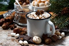 杯子热巧克力用蛋白软糖和甜点 免版税图库摄影