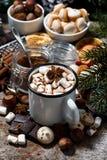 杯子热巧克力用蛋白软糖和甜点 库存照片