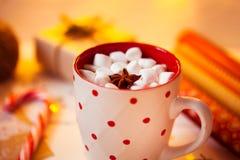 杯子热巧克力饮料 可可粉用蛋白软糖和桂香 免版税库存照片